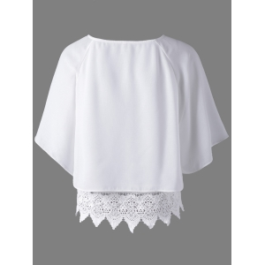 Trendy Round Collar Lace Spliced Hollow Out Pure Color Women's Blouse - WHITE S