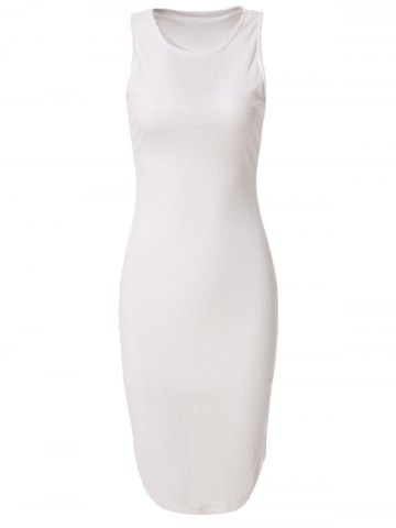 Discount Casual Fitted Knee-Length Bodycon Dress - M WHITE Mobile
