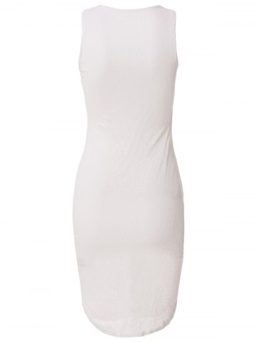 Shop Casual Fitted Knee-Length Bodycon Dress - M WHITE Mobile