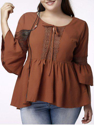 Shop Sweet Plus Size Jewel Collar Flounced Sleeve Lace Spliced Hollow Out T-Shirt For Women