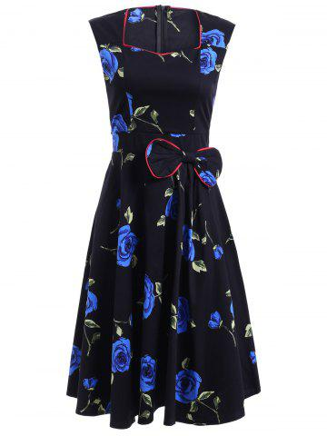 Online Stunning Sweetheart Neck Sleeveless Floral Bowknot Dress For Women