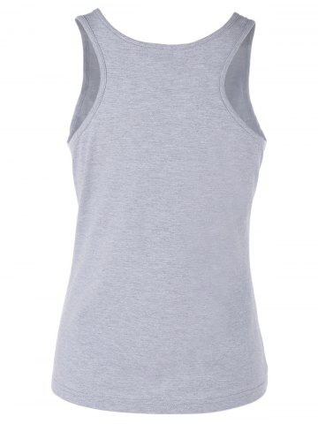Fashion Scoop Neck Letter Print Graphic Tank Top - S GRAY Mobile