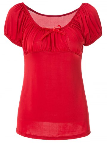 Store Noble Boat Neck Solid Color Bowknot Ruffled T-Shirt For Women