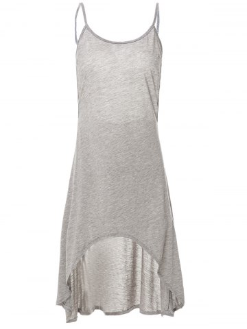 Cheap Grey Spaghetti Strap Backless High Low Dress