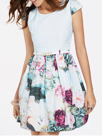 Discount Refreshing Cap Sleeves Floral Print Patchwork Dress For Women