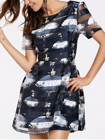Outfit Girl Print Organza Flare Dress
