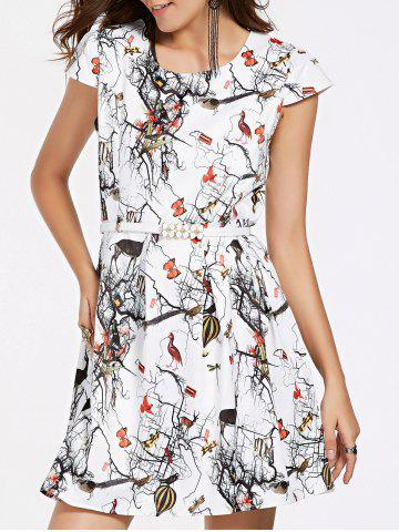 Shop Belted Printed Mini Flare Dress WHITE XL