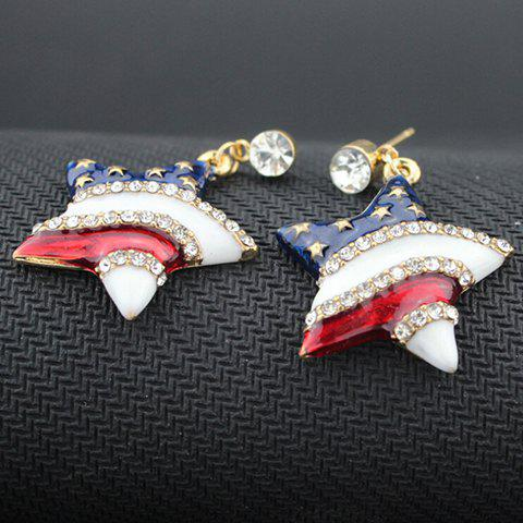 Trendy Pair of Rhinestone Star American Flag Design Pendant Earrings - BLUE  Mobile