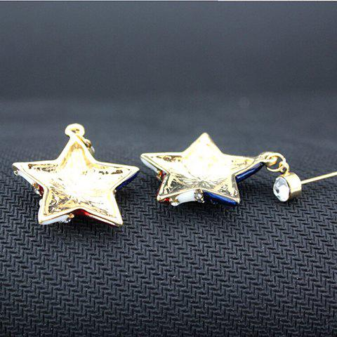 Shop Pair of Rhinestone Star American Flag Design Pendant Earrings - BLUE  Mobile