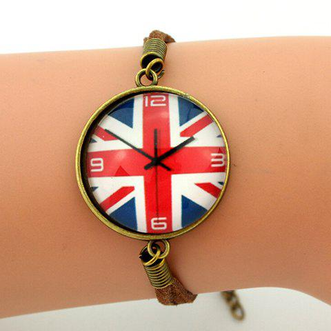 Fashion Stylish Union Flag Clock Round Shape Embellished Retro Bracelet - BLUE  Mobile