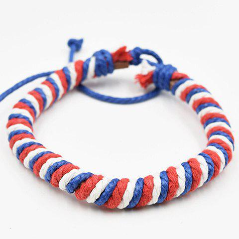 Shops Stylish Weaving Red White and Blue PU Bracelet RED