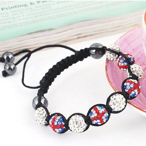 Latest Union Flag Red White and Blue Ball Weaving Bracelet WHITE