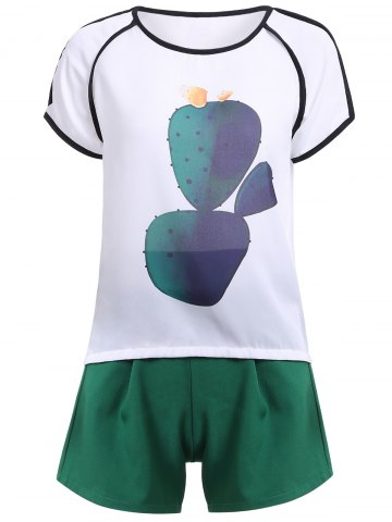 Hot Casual Cactus Pattern T-Shirt + Shorts Women's Twinset