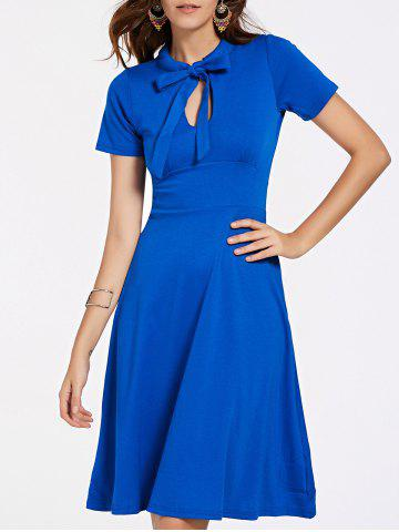 Cheap Stylish Short Sleeve Bow Tie Neck Women's Flare Dress BLUE M
