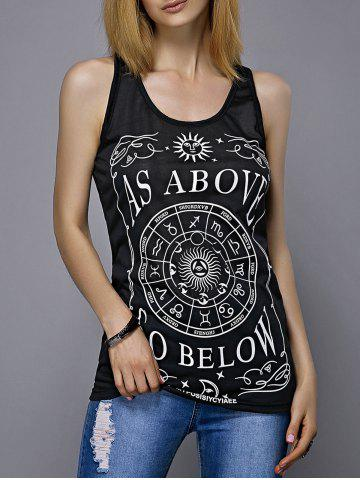 Store Letter Disk Print Racerback Tank Top