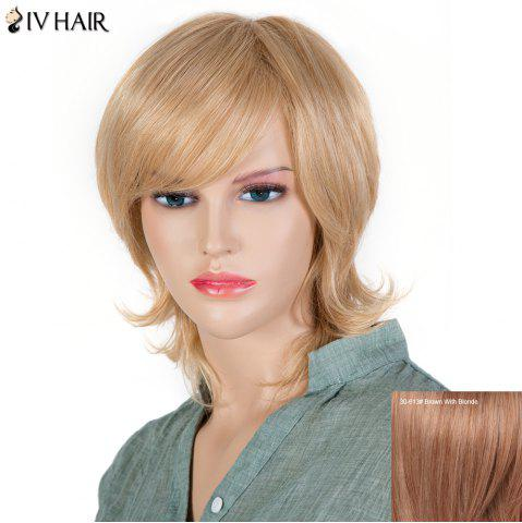 Best Women's Fluffy Siv Hair Inclined Bang Short Human Hair Wig