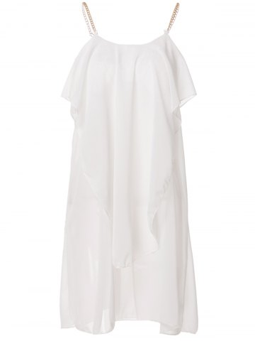 Shop Stylish Spaghetti Strap Solid Color Ruffled Chiffon Dress For Women WHITE L