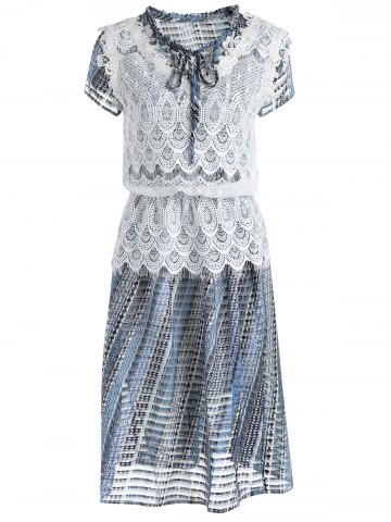 Online Sweet Lace Tank Top and Round Neck Short Sleeve Printed Dress For Women