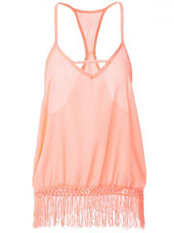 Hot Sweet Spaghetti Strap Fringe Splicing Sleeveless Blouse For Women