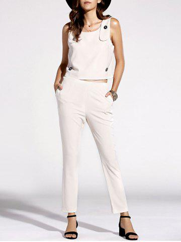 Hot Stylish Scoop Neck Top and Solid Color Pants Set For Women