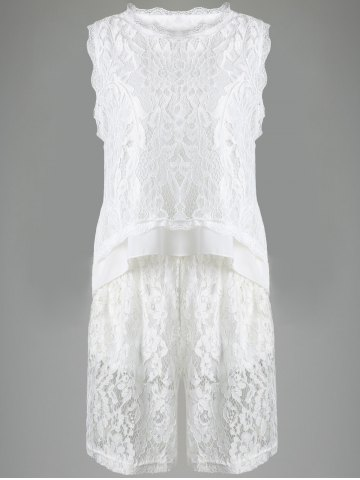 Outfit Gorgeous Lace Round Neck Tank Top and Shorts Set For Women