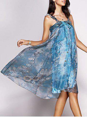 Chic Trendy Feathers Print Tie Front Chiffon Dress For Women