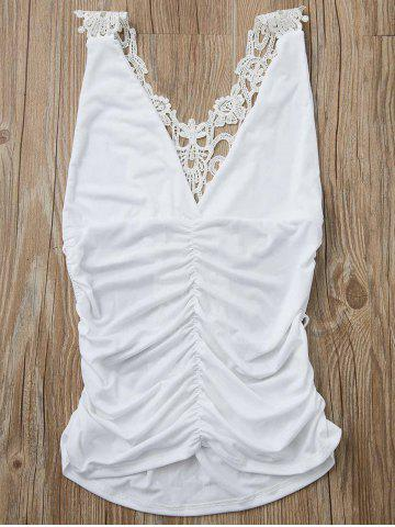 Outfit Sexy Plunging Neck Sleeveless Solid Color Cut Out Women's Tank Top WHITE S