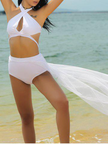 Outfits Stylish Halter Neck Hollow Out Spliced Women's Swimwear