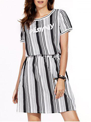 Unique Casual Jewel Neck Short Sleeve Striped A-Line Dress For Women