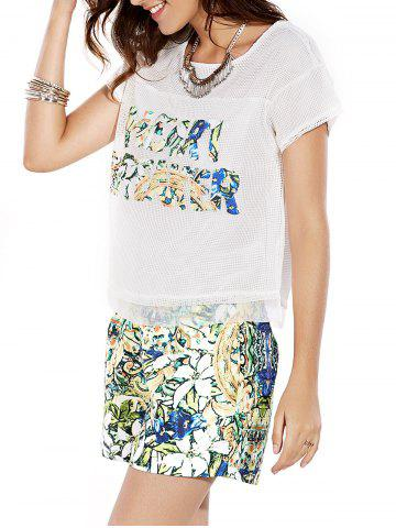 Sale Stylish Jewel Neck Openwork Top and Print Shorts Set For Women
