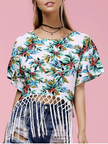 Unique Fashionable Round Neck Floral Print Fringed Women's T-Shirt