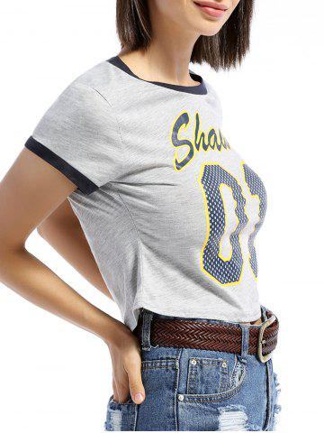 Chic Leisure Style Round Neck Short Sleeve Letter Print Slimming Women's T-Shirt