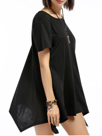 Chic Round Neck Short Sleeve Asymmetrical Pure Color Women's T-Shirt
