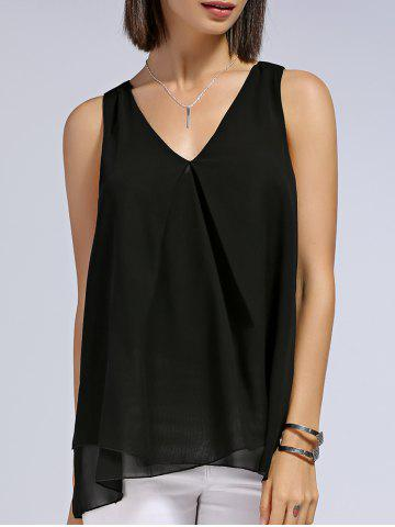 Sale Trendy V-Neck Layered Solid Color Women's Tank Top
