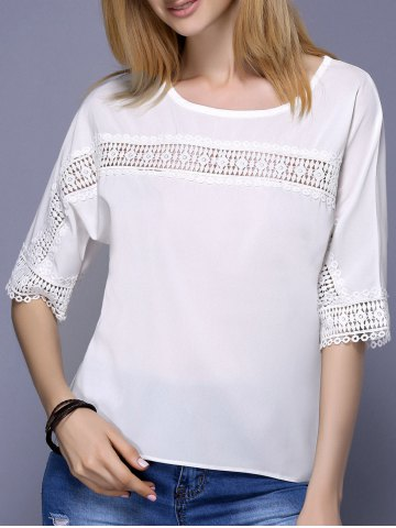 Outfit Fashionable Scoop Neck 1/2 Sleeve Lace Panelled Blouse For Women