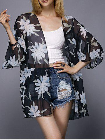 Chic Casual Collarless Floral Print 3/4 Sleeve Kimono Blouse For Women