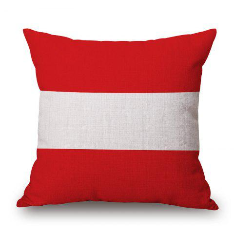 Fancy 2016 European Cup Austrian Flag Pattern Square Shape Flax Cushion Cover - RED WITH WHITE  Mobile
