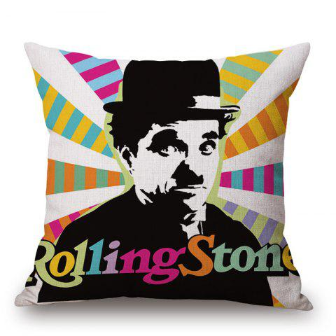 Online Pop Art Style Charles Chaplin Pattern Square Shape Cushion Cover - COLORFUL  Mobile