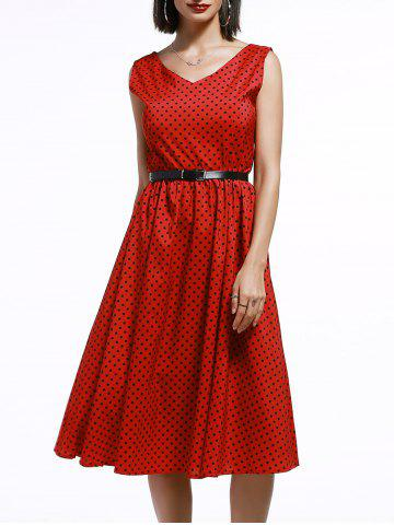 Cheap Vintage Polka Dot Midi Dress