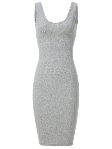 Discount Charming Scoop Neck Sleeveless Pure Color Cut Out Women's Dress