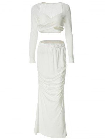 Unique Crop Ruched Two Piece Party Dress WHITE M