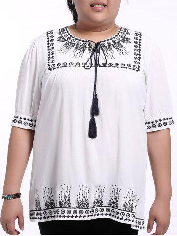 Fashion Ethnic Plus Size Embroidered Loose-Fitting Women's Blouse