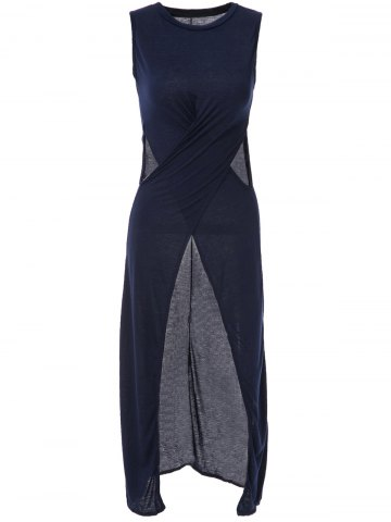 Affordable Stylish Round Neck Solid Color High Slit Hollow Out Sleeveless Maxi Dress For Women