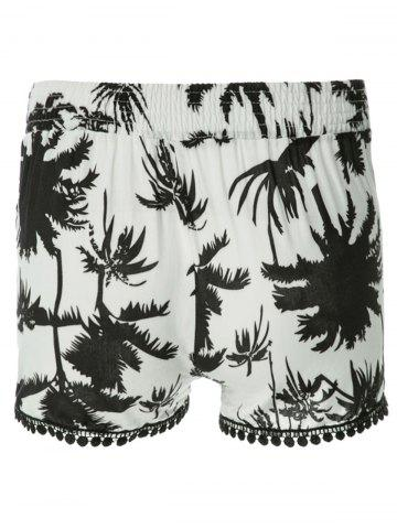 Cheap Tree Print Laced Flowy Shorts - S BLACK Mobile