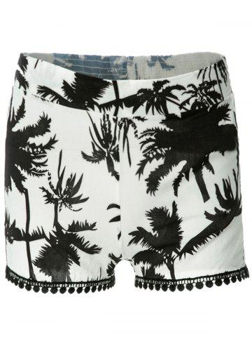 Online Tree Print Laced Flowy Shorts - XL BLACK Mobile