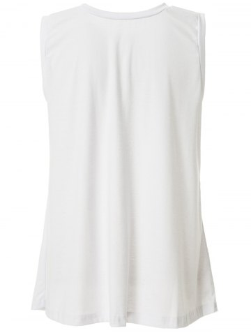 Round Neck Sleeveless Furcal Solid Color Tank Top