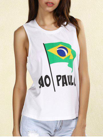 Outfit Stylish Scoop Neck Brazilian Flag Tank Top For Women WHITE L