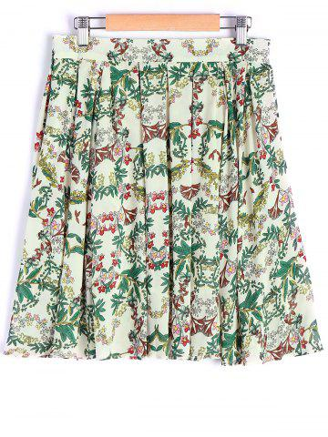 Outfits Elegant Floral Printing Zipper Skirt For Women