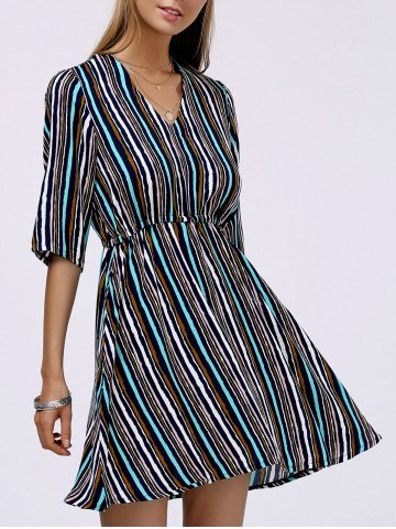 Outfit Trendy V-Neck Multicolor Striped Slimming Women's Dress