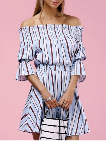 Off The Shoulder Bell Sleeve Striped Slimming Women s Dress